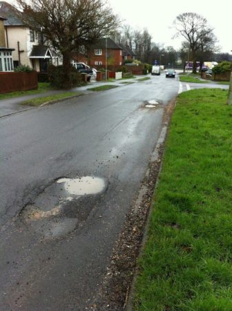 Poor road surfaces in the Totton area
