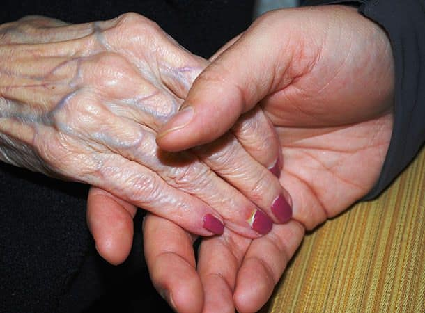 Old ladies hand