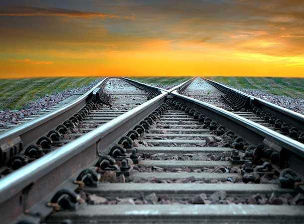 Railway Tracks Splitting in the distance