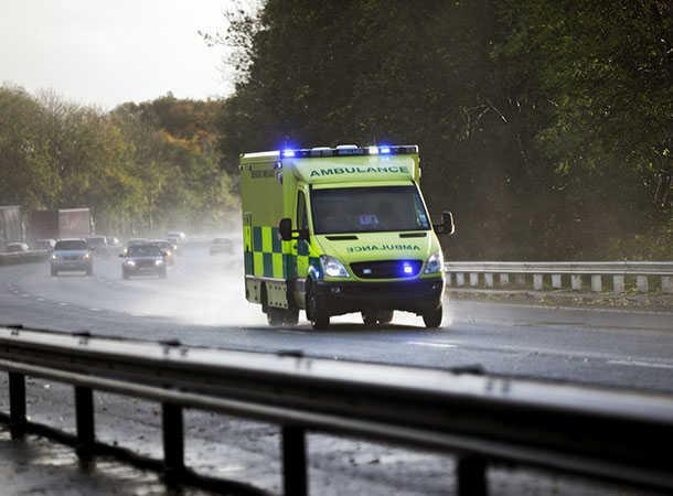 Ambulance rushing to hospital with stroke victim