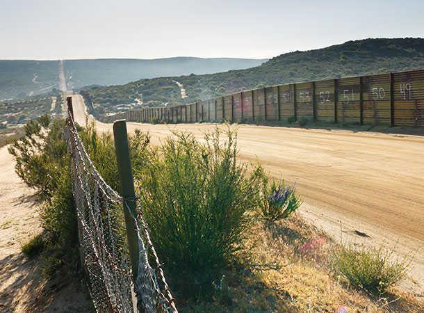 Mexico border fence near Campo,California,USA