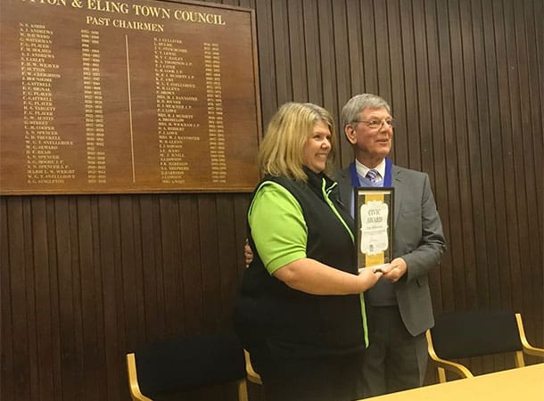 Julie Motherwell presented with a Civic Award by the Chairman of Totton & Eling Town Council, Cllr. Len Harris