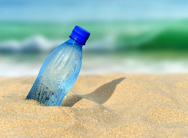 Plastic bottle deposited on the beach