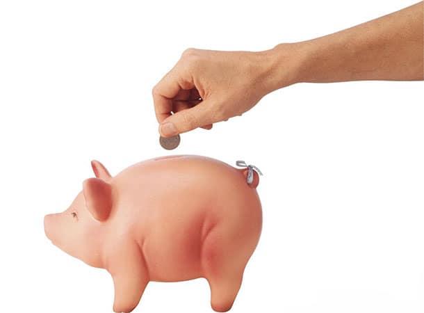 money added to a piggy bank