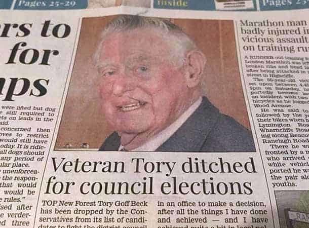 Cover Of The Lymington Times showing deselected candidate
