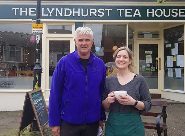 David Harrison And Hilary Brand Outside The Lyndhurst Tea Shop