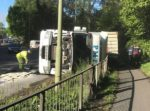 Lorry overturned this morning at Rushington Roundabout